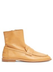 Loewe Leather Loafer Boots Tan