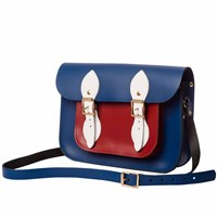 N'damus London Blue And Red 11 Inches Leather Mini Pocket Satchel