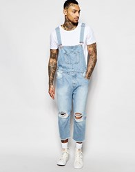 Asos Denim Overalls With Rips In Light Wash Light Blue