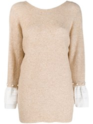 3.1 Phillip Lim Faux Pearl Sleeve Detailed Sweater Neutrals