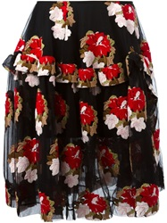 Simone Rocha Flower Embroidered Tulle Skirt Black