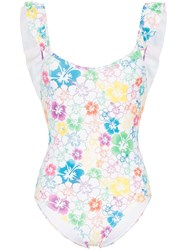 All Things Mochi Vienna Floral Ruffled Swimsuit White
