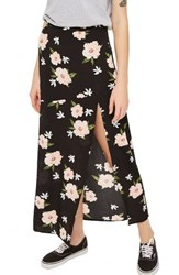 Topshop Women's Split Floral Maxi Skirt Black Multi