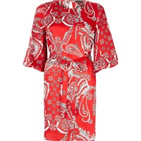 River Island Red Paisley Puff Sleeve Dress