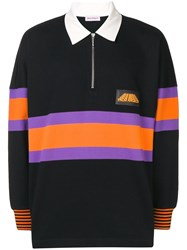 Palm Angels Stripe Logo Hiking Polo Black