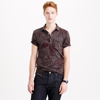 J.Crew Textured Pocket Polo Shirt In Black Floral