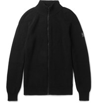 Belstaff Parkgate Slim Fit Knitted Cotton Zip Up Cardigan Black