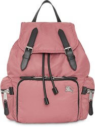 Burberry The Medium Rucksack In Puffer Nylon And Leather Pink