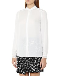 Reiss Wonder Lace Trim Silk Blouse Off White