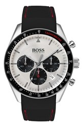 Boss Trophy Chronograph Silicone Strap Watch 44Mm Black