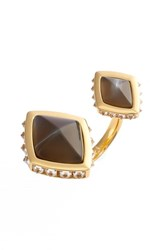 Women's Rachel Zoe 'Prestley' Pyramid Ring Gold Smoke Resin Horn