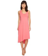 Mod O Doc Cotton Modal Spandex Jersey Double Layer High Side Slit Tank Dress Faded Red Pink