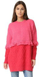 Sjyp Mixed Cable Knit Sweater Red