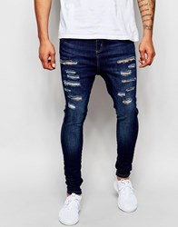 Sik Silk Siksilk Skinny Jeans With Dropped Crotch And Thigh Rips Washeddarkblue