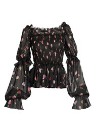 Dolce And Gabbana Rose Print Square Neck Silk Chiffon Blouse Black Print