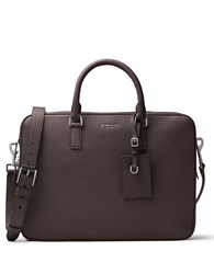 Michael Kors Bryant Leather Briefcase Dark Brown