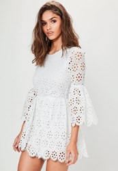 Missguided White Crochet Lace Flared Sleeve Playsuit