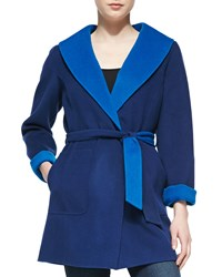 Neiman Marcus Double Face Coat With Tie Belt Blue