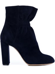 Chloe Ruched Ankle Boots Blue