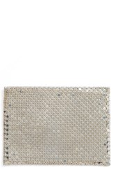 Whiting And Davis Women's Faux Leather Mesh Card Case Metallic Silver
