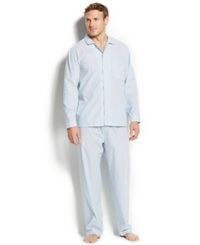 Club Room Men's Shirt And Pants Pajama Set Allure Blue Stripe