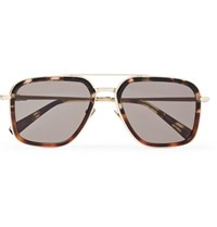 Brioni Aviator Style Tortoiseshell Acetate And Gold Tone Sunglasses