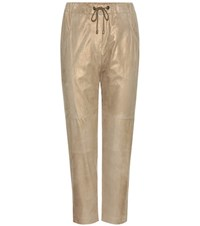 Brunello Cucinelli Metallic Suede Trousers Beige