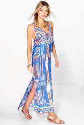 Boohoo Aztec Print Column Maxi Dress Multi