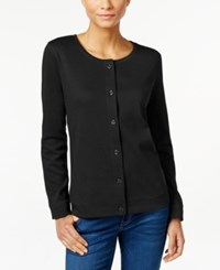 Karen Scott Long Sleeve Cardigan Only At Macy's Deep Black