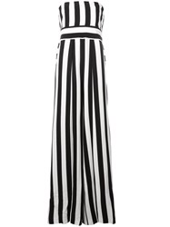 Milly Striped Strapless Jumpsuit Black