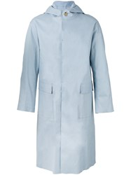 Mackintosh Long Hooded Raincoat Men Cotton 40 Blue