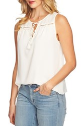 Cece Sleeveless Tie Front Blouse Antique White