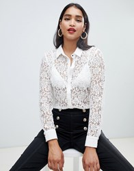 Morgan Lace Blouse In Ivory Off White