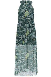 Anna Sui Woman Split Front Printed Cotton And Silk Blend Midi Dress Forest Green