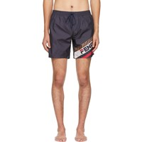 Navy 'Fendi Mania' Tech Swim Shorts