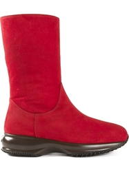 Hogan Rubber Sole Boots Red