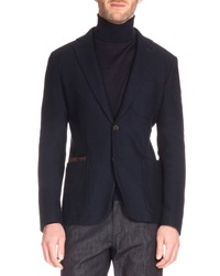 Berluti Knit Blazer With Leather Trim Navy