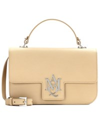 Alexander Mcqueen Insignia Leather Satchel Beige