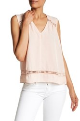 Harlowe And Graham Sleeveless V Neck Embroidered Woven Blouse Pink