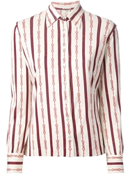 Celine Vintage Striped Chain Print Shirt Multicolour
