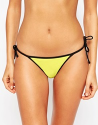 Asos Mix And Match Contrast Tie Side Thong Contrast Bikini Pant Tweetyyellow