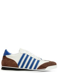 Dsquared Striped Leather And Suede Sneakers White Blue