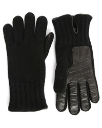 Hackett Black Wool Leather Touch Dual Fabric Gloves