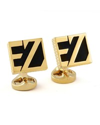 Ermenegildo Zegna Ez Enamel Cuff Links Black Yellow