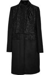 Just Cavalli Jacquard Paneled Wool Blend Coat Black