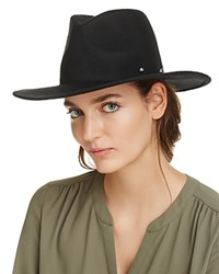 Aqua Wool Wide Brim Fedora 100 Exclusive Black