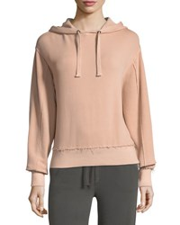 Vince Raw Edge Cotton Hoodie Pink