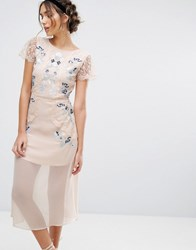 Frock And Frill Embroidered Panelled Midi Dress Peach Pink