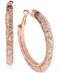 Betsey Johnson Rose Gold Tone Mesh Wrapped Crystal Hoop Earrings