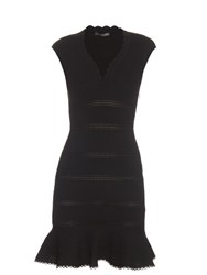 Alexander Mcqueen Cap Sleeve Cotton Blend Peplum Dress Black